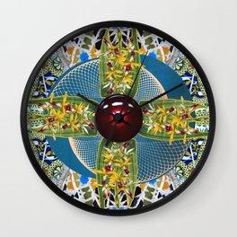 Laelia Orchid Jet Rotor Mandala Wall Clock
