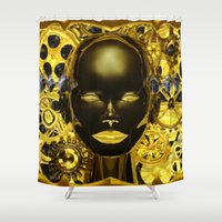 android Shower Curtains featuring Android Clockwork by Magmata