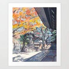 A shrine in autumn Art Print