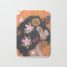 Summer Time Black Woman Bath Mat