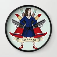 peggy carter Wall Clocks featuring Fight like a Girl - Peggy Carter by HayPaige
