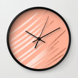 Sweet Life Swipes Peach Coral Shimmer Wall Clock