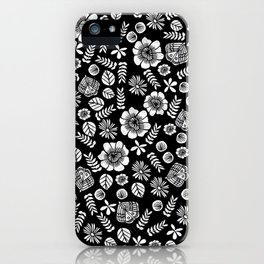 Linocut florals pattern minimal black and white home decor college dorm bohemian printmaking iPhone Case
