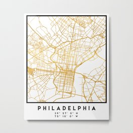 PHILADELPHIA PENNSYLVANIA CITY STREET MAP ART Metal Print