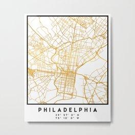 PHILADELPHIA PENNSYLVANIA CITY STREET MAP ART Metal Print
