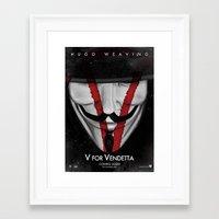 vendetta Framed Art Prints featuring Vendetta (V) by Alecxps
