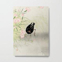 Moorhen and Blossomed Flowers - Vintage Japanese Woodblock Print Metal Print