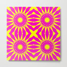Flowers Pink & Yellow Metal Print