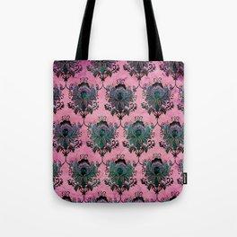 Pink Lotus Damask Tote Bag