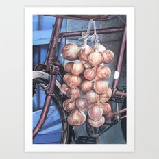 Bicycle with Onions Art Print