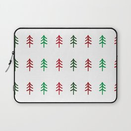 Hand drawn forest green and red trees for Christmas time Laptop Sleeve