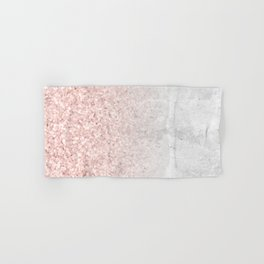 Blush Pink Sparkles on White and Gray Marble Hand & Bath Towel