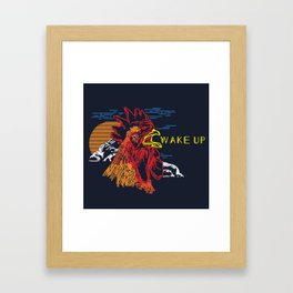 Wake Up Monoline Rooster Graphic Framed Art Print