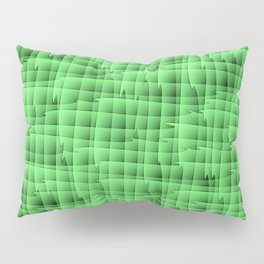 Square pastel curved stripes with interweaving of the bark of a green tree trunk. Pillow Sham