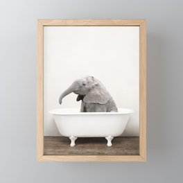 Baby Elephant in a Vintage Bathtub (c) Framed Mini Art Print