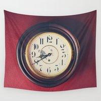 wall clock Wall Tapestries featuring Old wall clock by Elisabeth Coelfen