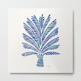 Palm Tree – Navy Palette Metal Print