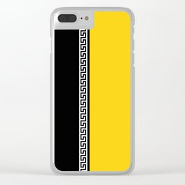 Greek Key 2 - Yellow and Black Clear iPhone Case