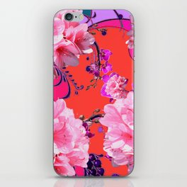 Delicate White & Pink Flower Blossoms Coral Art iPhone Skin