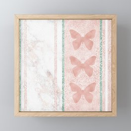 Snow White Peach Butterfly Abstract Pattern Framed Mini Art Print