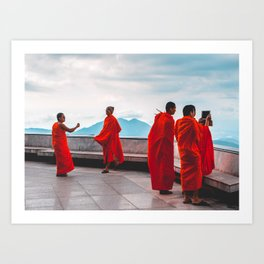 • East Meets West • Monks Taking Photos With I Phone Art Print