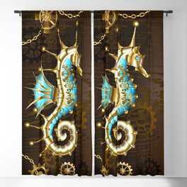 Wooden Background with Mechanical Seahorse ( Steampunk ) Blackout Curtain