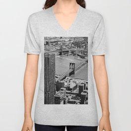 Brooklyn Bridge View - New York City Unisex V-Neck