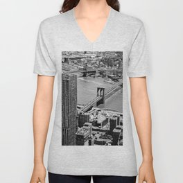 Brooklyn Bridge View - New York City Unisex V-Neck