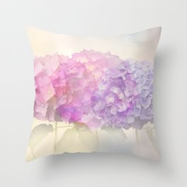 Abstract colorful hydrangea flowers for background,soft focus Throw Pillow