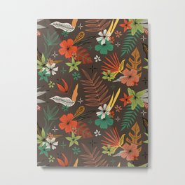 bright tropical floral pattern on brown Metal Print