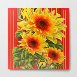 GOLDEN YELLOW KANSAS SUNFLOWERS RED ART Metal Print