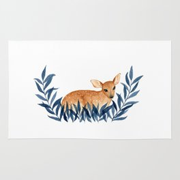 Fawn in Leaves Rug