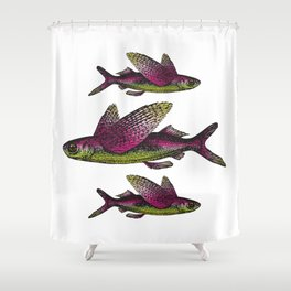 Flying Fish | Vintage Flying Fish | Shower Curtain
