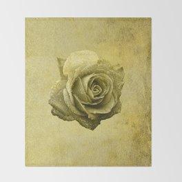 Metallic Gold Rose Flower Luxury Floral Victorian Bohemian Girly Wedding Bride Throw Blanket