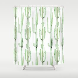 Arizona Wilderness Cactus Green Pattern Shower Curtain