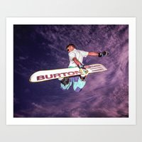snowboarding Art Prints featuring Snowboarding #2 by Bruce Stanfield