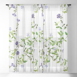 Purple periwinkle vine in watercolor Sheer Curtain