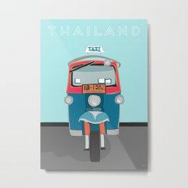 Thailand Tuk Tuk Taxi Travel Poster Metal Print