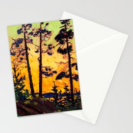 Tom Thomson - Pine Trees at Sunset  - Canada, Canadian Oil Painting - Group of Seven Stationery Cards