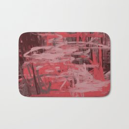 Muted Red & Pink Abstract Bath Mat