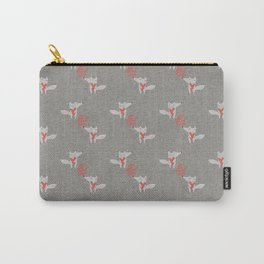 Fox in love with heart gray texture all you need is love Carry-All Pouch