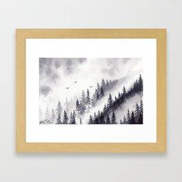 Winter misty mountain pine forst landscape watercolor painting Framed Art Print