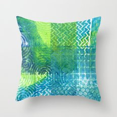 Industrial Blues and Greens Throw Pillow