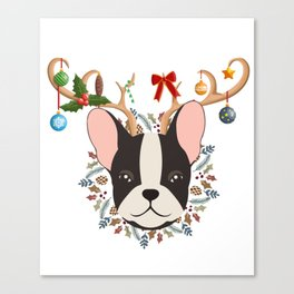 French Bulldog Reindeer Christmas Gift Canvas Print