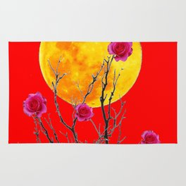 RED SURREAL FULL MOON & PINK WINTER ROSES Rug