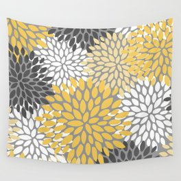 Modern Elegant Chic Floral Pattern, Soft Yellow, Gray, White Wall Tapestry