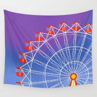 ferris wheel Wall Tapestries featuring Ferris Wheel by Haley Jo Phoenix