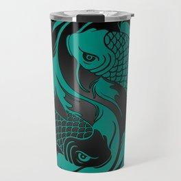 Teal Blue and Black Yin Yang Koi Fish Travel Mug