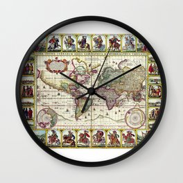 Ancient Pictorial Map Claes Janszoon 1652 Wall Clock