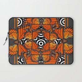 Monarch Butterflies Migration in orange & Grey Pattern Art Laptop Sleeve